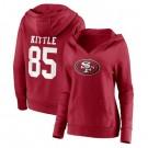 Women's San Francisco 49ers#85 George Kittle Red Team Logo V Neck Pullover Hoodie