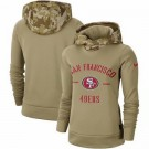 Women's San Francisco 49ers Khaki 2019 Salute to Service Therma Printed Pullover Hoodie