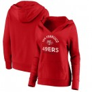 Women's San Francisco 49ers Red Vintage Arch V Neck Pullover Hoodie
