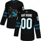 Women's San Jose Sharks Customized Black Alternate Authentic Jersey