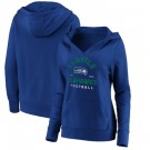 Women's Seattle Seahawks Blue Vintage Arch V Neck Pullover Hoodie
