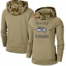 Women's Seattle Seahawks Khaki 2019 Salute to Service Therma Printed Pullover Hoodie