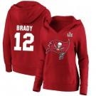 Women's Tampa Bay Buccaneers #12 Tom Brady 2021 Super Bowl LV Pullover Hoodie 210336