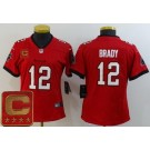 Women's Tampa Bay Buccaneers #12 Tom Brady Limited Red Captain Patch Vapor Untouchable Jersey