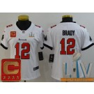 Women's Tampa Bay Buccaneers #12 Tom Brady Limited White Captain Patch 2021 Super Bowl LV Bound Vapor Untouchable Jersey