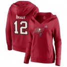 Women's Tampa Bay Buccaneers #12 Tom Brady Red 2021 Super Bowl LV Pullover Hoodie 210337