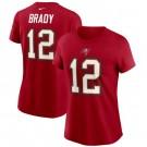 Women's Tampa Bay Buccaneers #12 Tom Brady Red Printed T-Shirt 210381