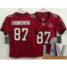 Women's Tampa Bay Buccaneers #87 Rob Gronkowski Limited Red 2021 Super Bowl LV Bound Vapor Untouchable Jersey