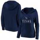 Women's Tennessee Titans Navy Iconic League Leader V Neck Pullover Hoodie