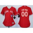 Women's Toronto Blue Jays Customized Red Cool Base Jersey