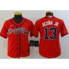 Youth Atlanta Braves #13 Ronald Acuna Jr Red 2020 Cool Base Jersey