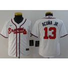 Youth Atlanta Braves #13 Ronald Acuna Jr White 2020 Cool Base Jersey