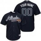 Youth Atlanta Braves Customized Navy Blue Cool Base Jersey