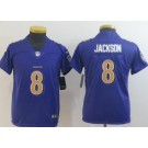 Youth Baltimore Ravens #8 Lamar Jackson Limited Purple Rush Color Jersey