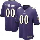 Youth Baltimore Ravens Customized Game Purple Jersey