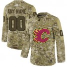 Youth Calgary Flames Customized Camo Fashion Authentic Jersey