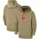 Youth Cincinnati Bengals Tan 2019 Salute to Service Sideline Therma Printed Pullover Hoodie