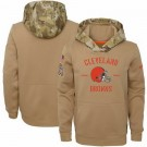 Youth Cleveland Browns Khaki 2019 Salute to Service Therma Printed Pullover Hoodie