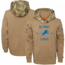 Youth Detroit Lions Khaki 2019 Salute to Service Therma Printed Pullover Hoodie