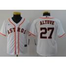 Youth Houston Astros #27 Jose Altuve White 2020 Cool Base Jersey