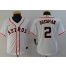 Youth Houston Astros #2 Alex Bregman White 2020 Cool Base Jersey