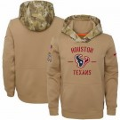 Youth Houston Texans Khaki 2019 Salute to Service Therma Printed Pullover Hoodie