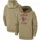 Youth Houston Texans Tan 2019 Salute to Service Sideline Therma Printed Pullover Hoodie