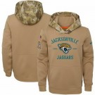 Youth Jacksonville Jaguars Khaki 2019 Salute to Service Therma Printed Pullover Hoodie