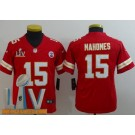 Youth Kansas City Chiefs #15 Patrick Mahomes II Limited Red 2021 Super Bowl LV Bound Vapor Untouchable Jersey