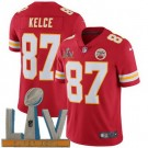 Youth Kansas City Chiefs #87 Travis Kelce Limited Red 2021 Super Bowl LV Bound Vapor Untouchable Jersey