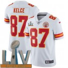 Youth Kansas City Chiefs #87 Travis Kelce Limited White 2021 Super Bowl LV Bound Vapor Untouchable Jersey