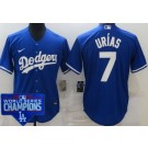 Youth Los Angeles Dodgers #7 Julio Urias Blue 2020 World Series Champions Cool Base Jersey