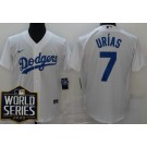 Youth Los Angeles Dodgers #7 Julio Urias White 2020 World Series Cool Base Jersey