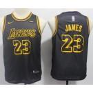 Youth Los Angeles Lakers #23 LeBron James Black City Icon Sponsor Swingman Jersey
