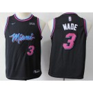 Youth Miami Heat #3 Dwyane Wade Black City Icon Sponsor Swingman Jersey