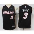 Youth Miami Heat #3 Dwyane Wade Black Icon Sponsor Swingman Jersey