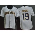 Youth Milwaukee Brewers #19 Robin Yount White Cool Base Jersey