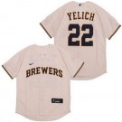 Youth Milwaukee Brewers #22 Christian Yelich Cream 2020 Cool Base Jersey