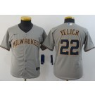 Youth Milwaukee Brewers #22 Christian Yelich Gray 2020 Cool Base Jersey