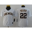 Youth Milwaukee Brewers #22 Christian Yelich White 2020 Cool Base Jersey