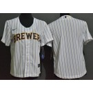 Youth Milwaukee Brewers Blank White Cool Base Jersey
