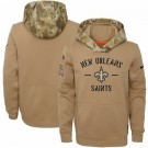 Youth New Orleans Saints Khaki 2019 Salute to Service Therma Printed Pullover Hoodie
