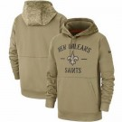 Youth New Orleans Saints Tan 2019 Salute to Service Sideline Therma Printed Pullover Hoodie