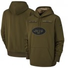 Youth New York Jets Olive Salute To Service Printed Pullover Hoodie