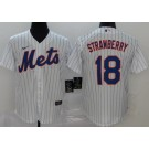 Youth New York Mets #18 Darryl Strawberry White Stripes 2020 Cool Base Jersey