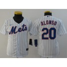 Youth New York Mets #20 Pete Alonso White 2020 Cool Base Jersey