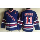 Youth New York Rangers #11 Mark Messier Blue Throwback Jersey