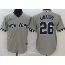 Youth New York Yankees #26 DJ LeMahieu Gray Player Name 2020 Cool Base Jersey