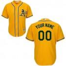 Youth Oakland Athletics Customized Yellow Cool Base Jersey