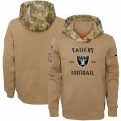 Youth Oakland Raiders Khaki 2019 Salute to Service Therma Printed Pullover Hoodie